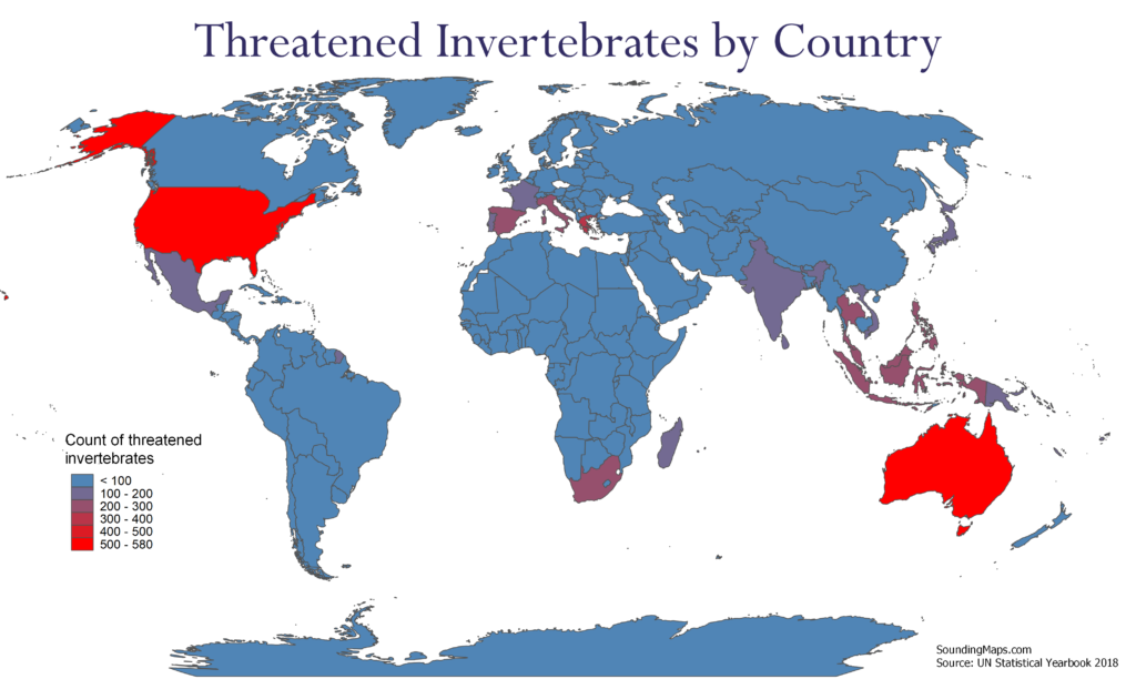 Map of Threatened Invertebrates