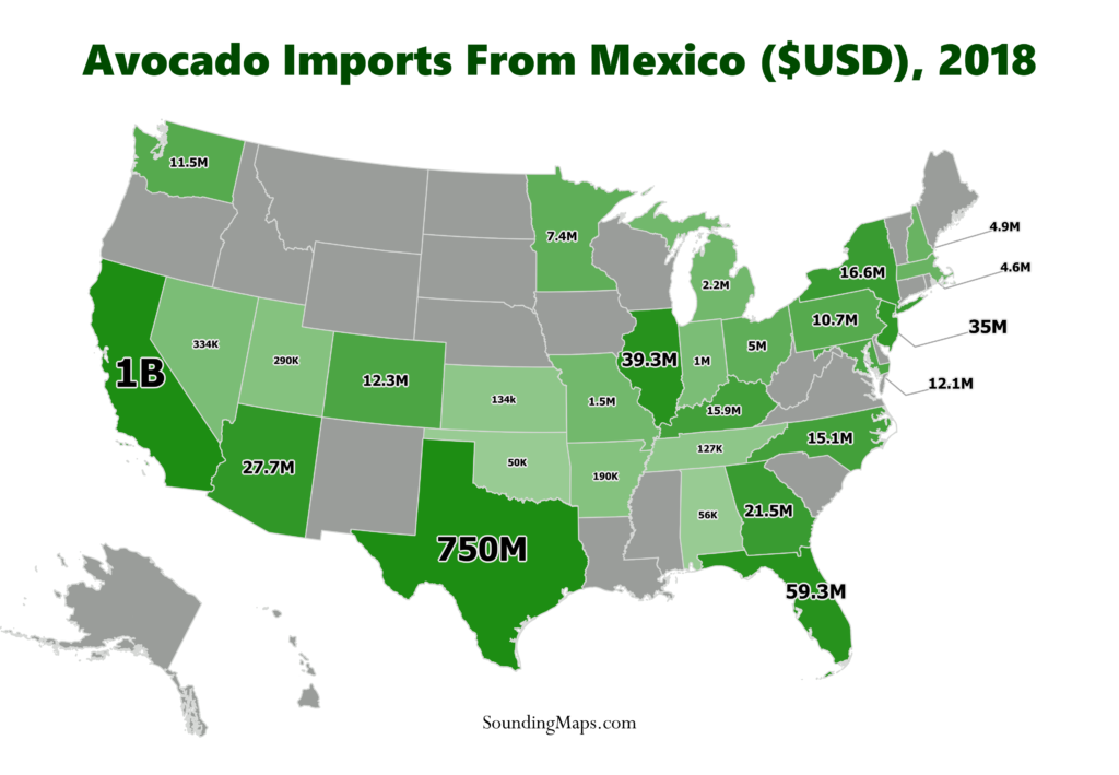 Map of Avocado Imports from Mexico