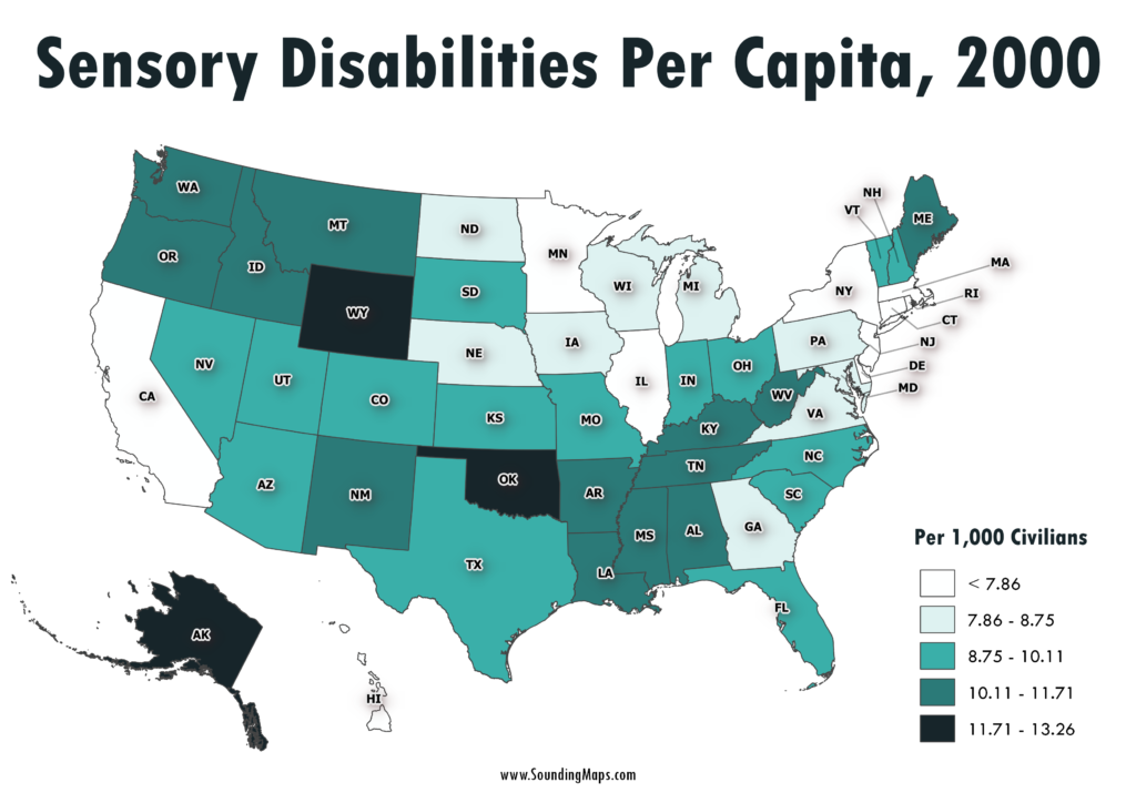 Map of Sensory Disabilities