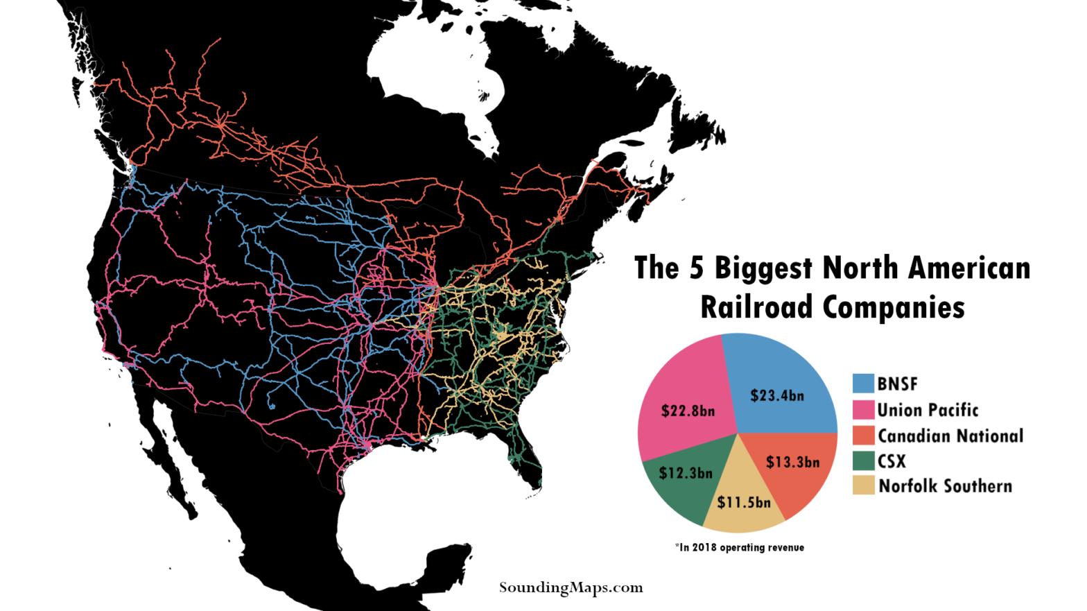 Map of 5 biggest railroads in North America