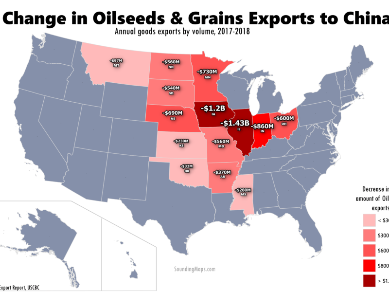 Map united states oilseeds grains export decrease china